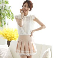 2013 summer women's short-sleeve shirt sweet lace beaded chiffon short-sleeve shirt female