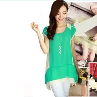 2013 summer women's chiffon shirt loose faux two piece candy color medium-long plus size basic shirt