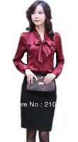 free shipping 2013 womens new fashion apricot red long sleeve bowtie stand collar work blouses career lady dress shirts tops 166