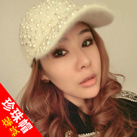 Cap women's pearl rabbit fur hat casual cap thermal winter fashion plush baseball cap