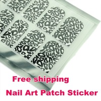 Free shipping Nail Art Patch Sticker Square Poker Shape/White Hubble-bubble/White Leopard Gel Nail Foils