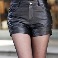 2013 genuine leather shorts female autumn and winter sheepskin single-shorts leather pants low-waist fashion all-match