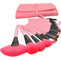 new Professional Makeup Brushes With Pink Bag(24 Pcs) Free shipping