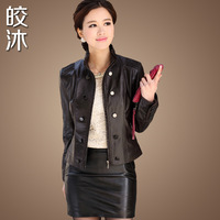 Silk scarf spring and autumn clothing leather women's outerwear genuine sheepskin leather clothing female short slim design