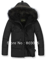 2013 New High Quality Brand Men's Long Style Pig Hair Collar Down Coat Winter Duck Down Jacket