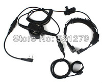 2 x New Military Covert Earpiece Grade Tactical Throat Mic Armpit PTT Headset with Finger PTT for KENWOOD Radio BF-UV5R C0200A