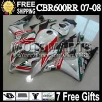 7gifts For HONDA F5 07-08 CBR600RR Castrol Red 07 08 CBR 600 600RR Q7673 CBR600 RR CBR600F5 White F5 Injection 2007 2008 Fairing