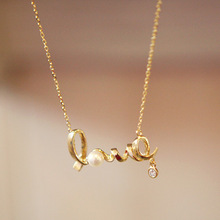 Wholesale Fashion Korean Crystal Jewelry 18K Gold Plated LOVE Letter Pendant Necklaces Valentine's day jewelry gift SN043-A