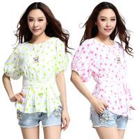 Silk Star printing slim waist line  bow blouse. L8802-5