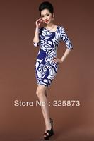 Freeshipping 2013 European style OL commuter Retro Blue and white porcelain printing slim dress [Q13202]