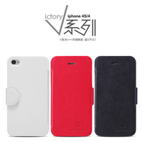 High Quality Nillkin Victory Series For Apple Iphone 4/4S Leather Case For iPhone 4 4S Luxury Flip Cover Case Free Shipping