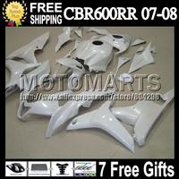 7giftsFor HONDA F5 07-08 ALL White CBR600RR 07 08 CBR 600 600RR Q7670 CBR600 RR CBR600F5 Injection Pearl White 2007 2008 Fairing