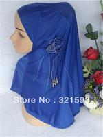 Free Shipping,2013 new Muslim bandanas,muslim hijab with flower, fashion hijab ,islamic scarf,mixed colors for one lot