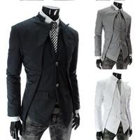 Hot men's suits  mens winter blazers asymmetry 3 color 4 size 135065