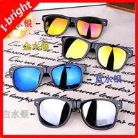 2013 I-bright New Arrival wholesaling reflective lens sunglasses fashion rivet sunglasses 4 colors eyewear Free shipping