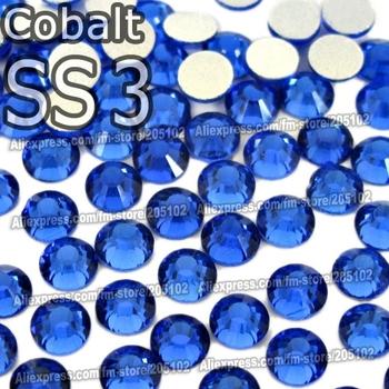 SS3 1.3-1.4mm, Cobalt Blue 1440pcs/bag Non Hot Fix FlatBack Rhinestones,glass Glitter glue-on loose crystals DIY strass stones