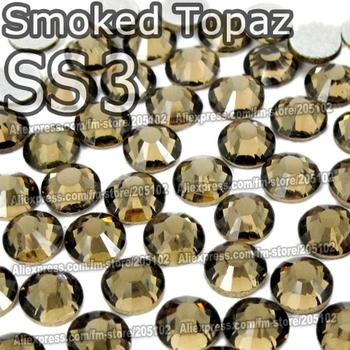 SS3 1.3-1.4mm,1440pcs/bag Non Hot Fix FlatBack Rhinestones,Smoked Topaz Glitter Glue-on loose nail crystals DIY strass stones