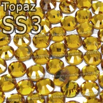 SS3 1.3-1.4mm,Topaz yellow 1440pcs/bag Non Hot Fix FlatBack Rhinestones,glass Glitter glue-on loose crystals DIY strass stones