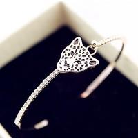 Free shipping Leopard head set auger Czech bracelet for women