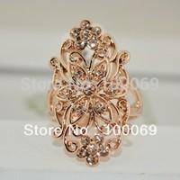 Min.order is $15 (mix order)18K Rose Gold Plated Fashion Vintage Hollow Flower Finger Ring R1532