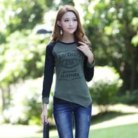 2013 autumn fashion women's slim long-sleeve T-shirt Women casual top plus size basic shirt female
