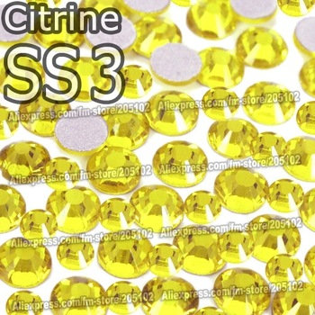 SS3 1.3-1.4mm, Citrine yellow 1440pcs/bag Non Hot Fix FlatBack Rhinestones,DMC glue-on loose crystals DIY strass stones