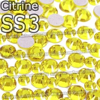 SS3 1.4mm Citrine yellow 1440pcs/bag Non HotFix FlatBack Rhinestones DMC Glue on crystals for Nail Art DIY strass stones