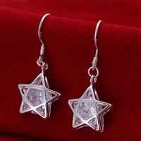 Free shipping wholesale for women's 925 silver earrings 925 silver fashion jewelry rhinestone star drop Earrings SE200