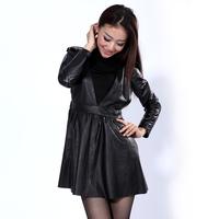 2012 autumn Women sheepskin genuine leather tank dress one-piece dress leather skirt female outerwear