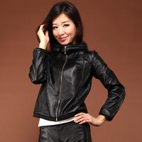 2013 spring genuine sheepskin leather clothing women's leather clothing outerwear hat leather clothing