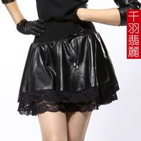 2013 spring genuine leather skirt leather clothing lace a-line skirt half-length sheepskin basic short leather skirt
