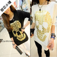 2013 women's autumn behind patchwork chiffon long-sleeve classic skull fashion all-match long-sleeve T-shirt basic shirt
