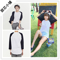 2013 autumn baseball vertical stripe patchwork three quarter sleeve raglan sleeve loose all-match women's t-shirt