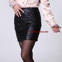2012 female genuine leather skirt bust skirt sheepskin slim hip skirt step short skirt sheepskin
