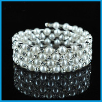 Fashion rhinestone Simulated Bridal Pearl bracelet wedding accessories women