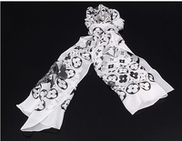 High Quality 2013 New Fashion black and white dot silk Light soft Women's Chiffon scarf