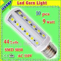 360 degree led bulb e27 9w smd5050 with 44 leds epistar screw corn light bulb lamp ac 110v aluminum heat sink led