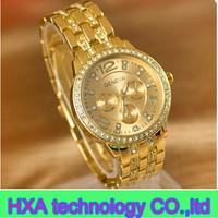 2013 high quality brand new geneva watch with diamond ,new rhinestone stainless steel quartz watches