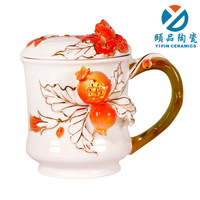 Free shipping Ceramic cup mug with lid cute lovers cup ceramic cup office glass b22