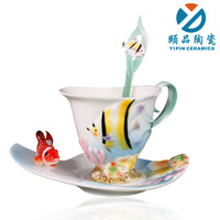 Free shipping Porcelain enamel bone china coffee cup mug b305
