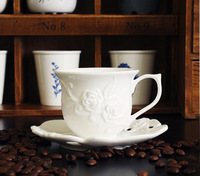 Free shipping Jingdezhen ceramic coffee cup set fashion tea cup embossed noble rose ceramic spoon