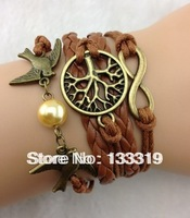 Multilayer Bangle Cuff Bracelet Tree of life Bracelet copper Karma Bracelet Lover Birds Bracelet Pearl Personalized Bracelet