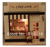Free shipping personality 3D puzzles assembling model wooden toys doll house DIY Furnishing Assembling house cake love gift B013