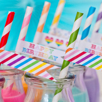 FREE SHIPPING+wholesale (12pieces/lot,25straws/piece)  multicolour stripe eco-friendly paper straw  party supplies