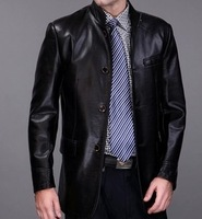 JA003 high quality   men's sheepskin  leather motorcycle jacket coat  warm and fashion free shipping
