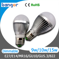 LED Blub AC85-265V Dimmable Cree E27 E14 MR16 GU10 GU5.3 B22 LED Bulb Lamp Light 3W/4W/5W/9W/10W/12W/15W Warn/ Cool white