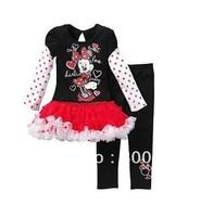 New children's clothing sets kids girls minnie cartoon dots tutu dress dresses  + pants girl 2 pcs set XZQ