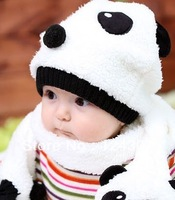 2013 New Arrival Baby Kids Casual Cotton Velvet Cover Cap Winter Baby Hat Panda Designs  Plus Kids Scarf