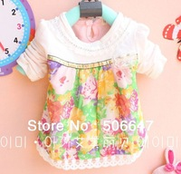 2013 Autumn outfit new brand children's clothing wholesale girls gold ribbon hem cardigan long-sleeved chiffon flowers