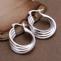 Free shipping lowest price wholesale for women's 925 silver earrings 925 silver fashion jewelry 4line hoop Earrings SE157